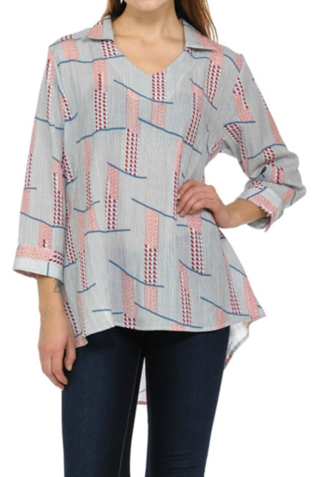 Cubism Multi-Stripe V-Neck Shirt - Main Image