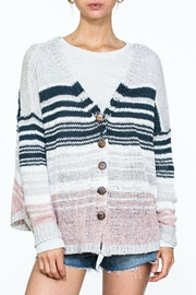 En Creme Multi-Striped Button Sweater - Product Mini Image