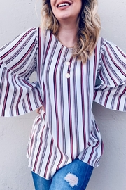 andthewhy Multi Striped Printed Bell Sleeve Top - Product Mini Image