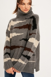 Listicle MULTI ZEBRA TURTLE NECK PULLOVER KNIT SWETAER - Product Mini Image