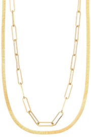 Girly Link Herringbone Multichain Necklace - Product Mini Image