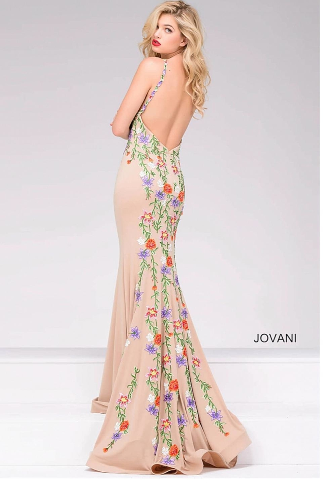 Jovani Multicolor Embroidered Gown - Main Image