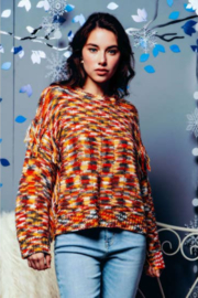 Sweater Land MULTICOLOR KNIT FRINGE SLEEVES SWEATER - Product Mini Image