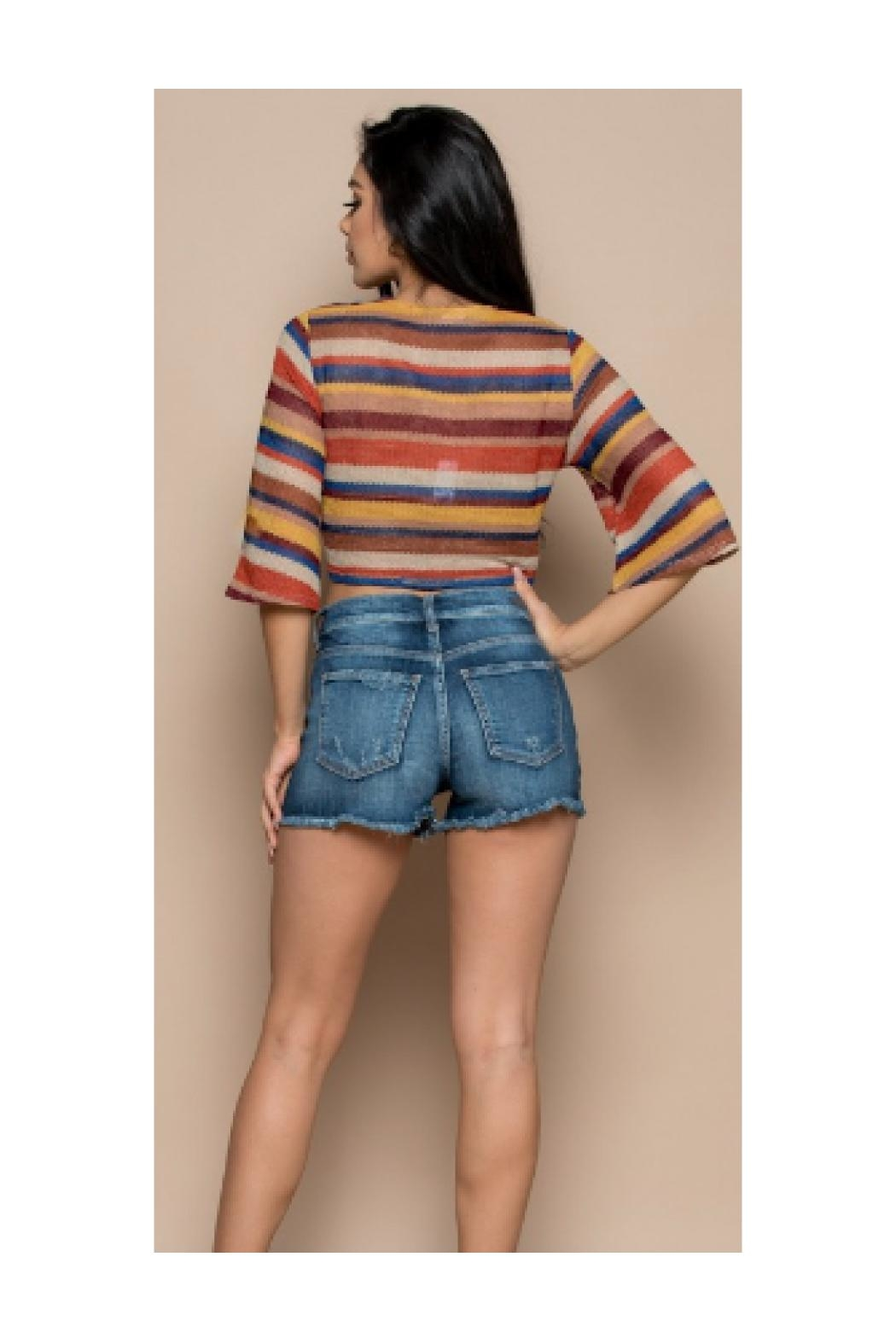 Polly & Esther Multicolor Stripe Crop-Top - Side Cropped Image