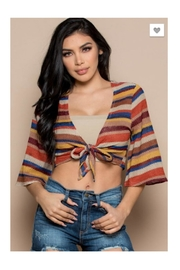 Polly & Esther Multicolor Stripe Crop-Top - Front cropped