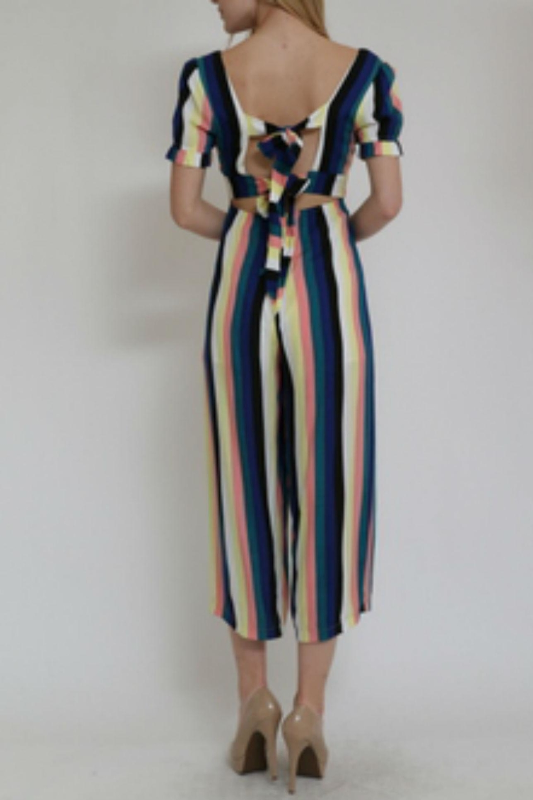 in the Beginning Multicolor Stripe Jumpsuit - Side Cropped Image