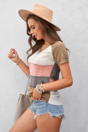 Shewin  Multicolor Stripe Print Knitted V Neck Top - Product Mini Image