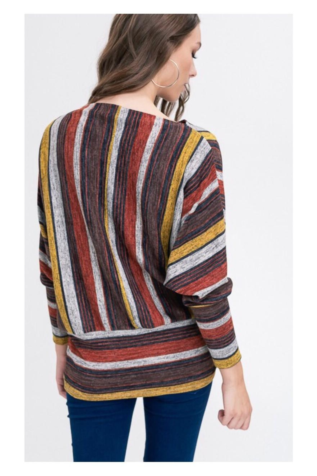 Polly & Esther Multicolor Stripe Top - Front Full Image