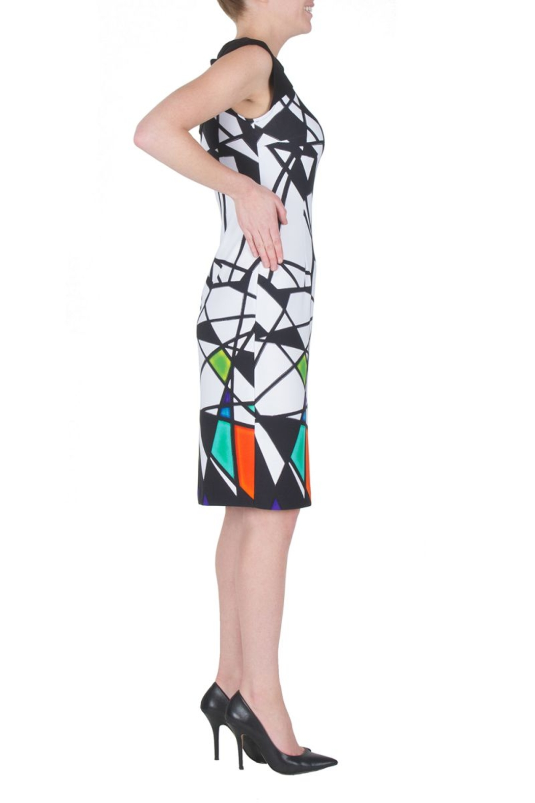 Joseph Ribkoff  Multicolored Abstract Geometric Sleeveless Dress. Bateau neck, golden accents and zip closure. - Front Full Image