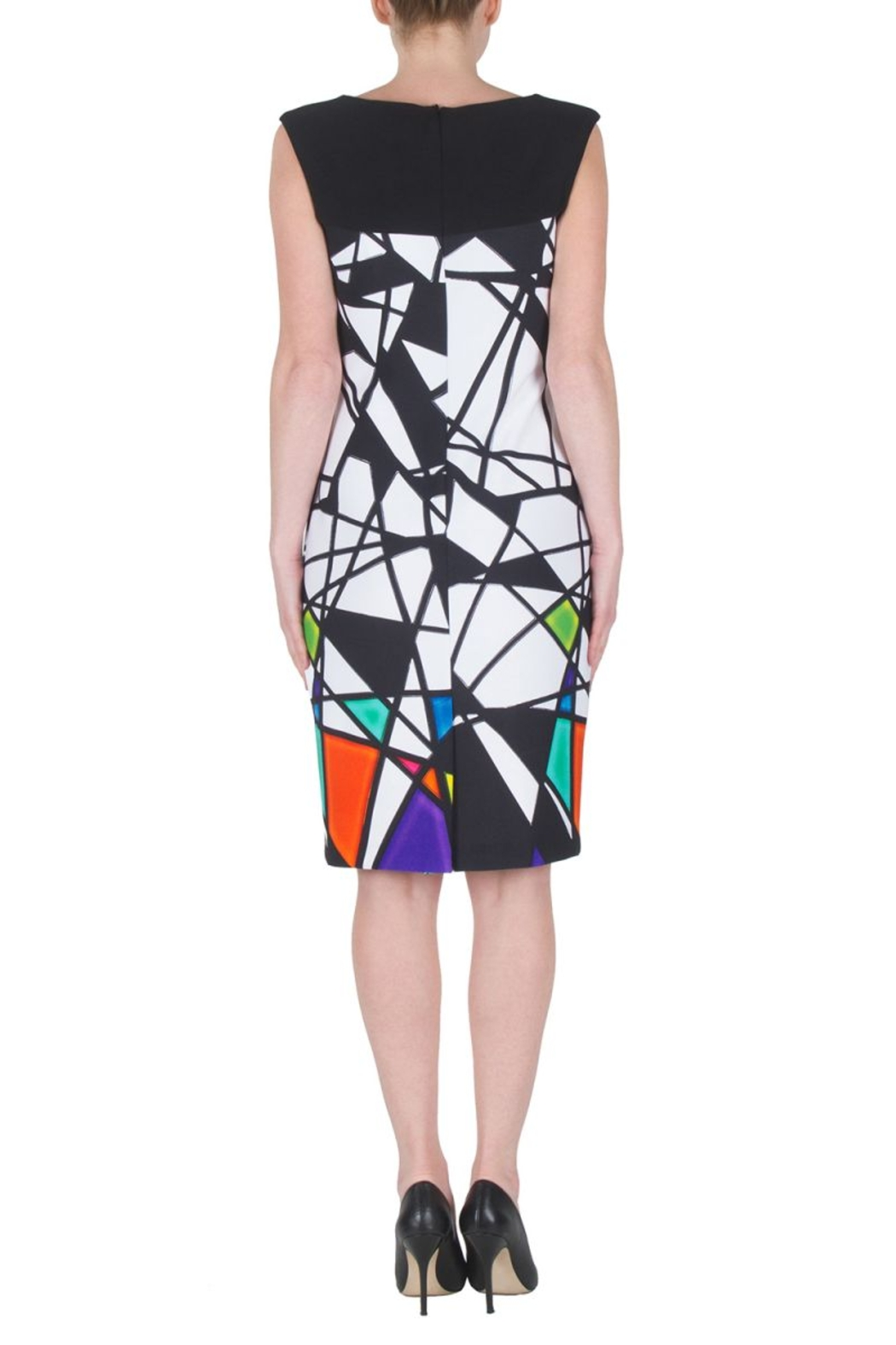 Joseph Ribkoff  Multicolored Abstract Geometric Sleeveless Dress. Bateau neck, golden accents and zip closure. - Side Cropped Image