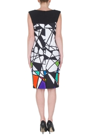 Joseph Ribkoff  Multicolored Abstract Geometric Sleeveless Dress. Bateau neck, golden accents and zip closure. - Side cropped