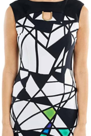 Joseph Ribkoff  Multicolored Abstract Geometric Sleeveless Dress. Bateau neck, golden accents and zip closure. - Front cropped