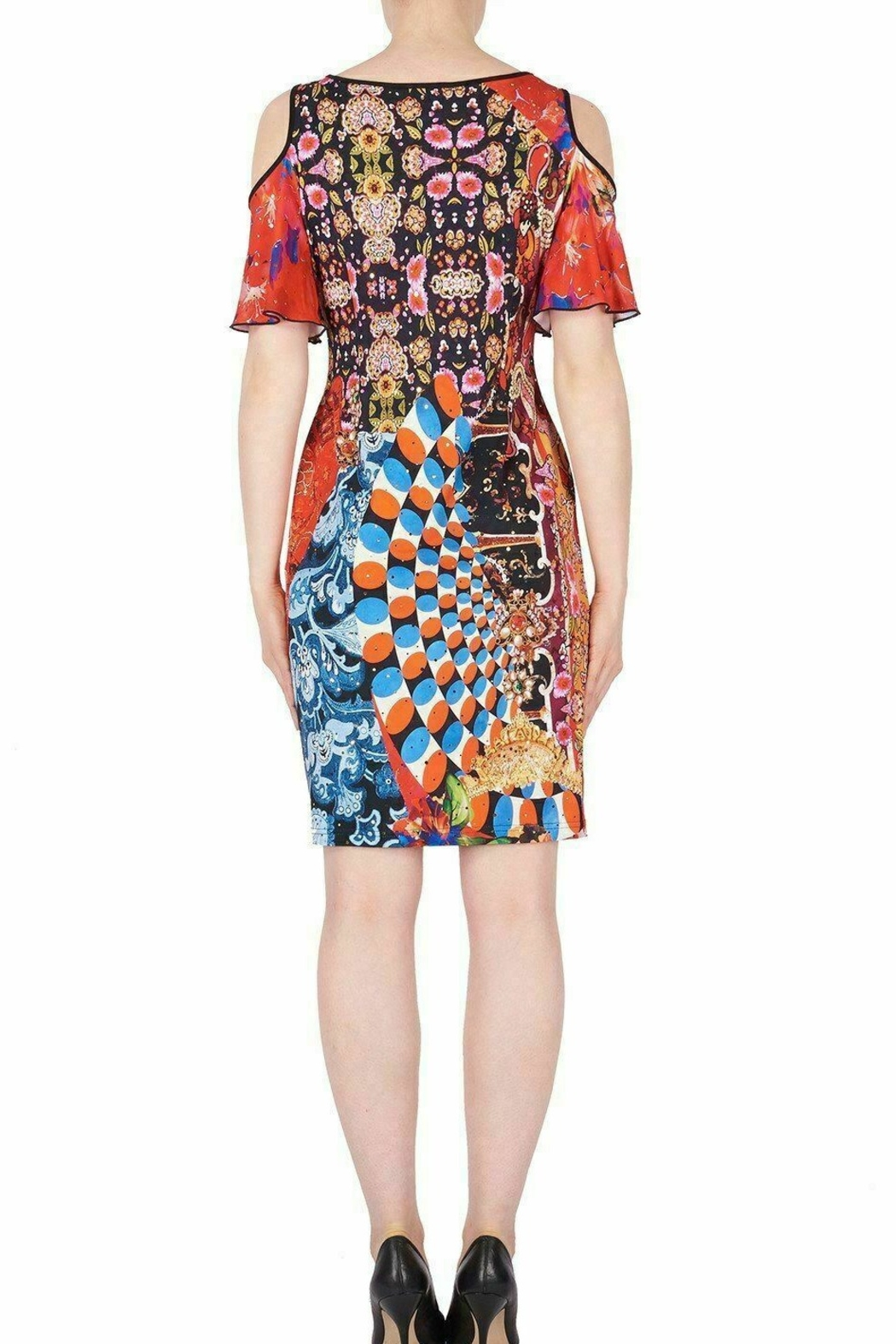 Joseph Ribkoff  Multicolored graphic print knee length dress - Front Full Image
