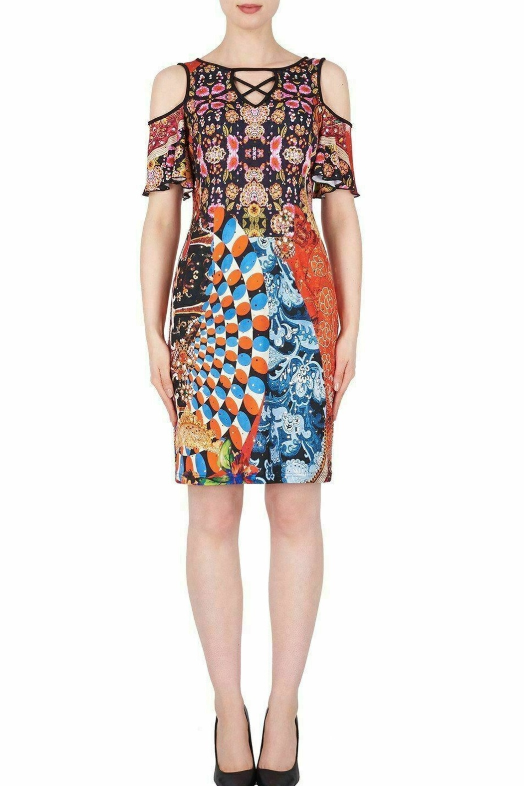 Joseph Ribkoff  Multicolored graphic print knee length dress - Front Cropped Image