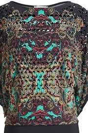 Joseph Ribkoff Multicolored paisley abstract laser cut overlay top - Front cropped