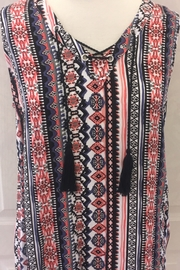 Tribal Jeans Multicolored tank top with black tassels - Product Mini Image