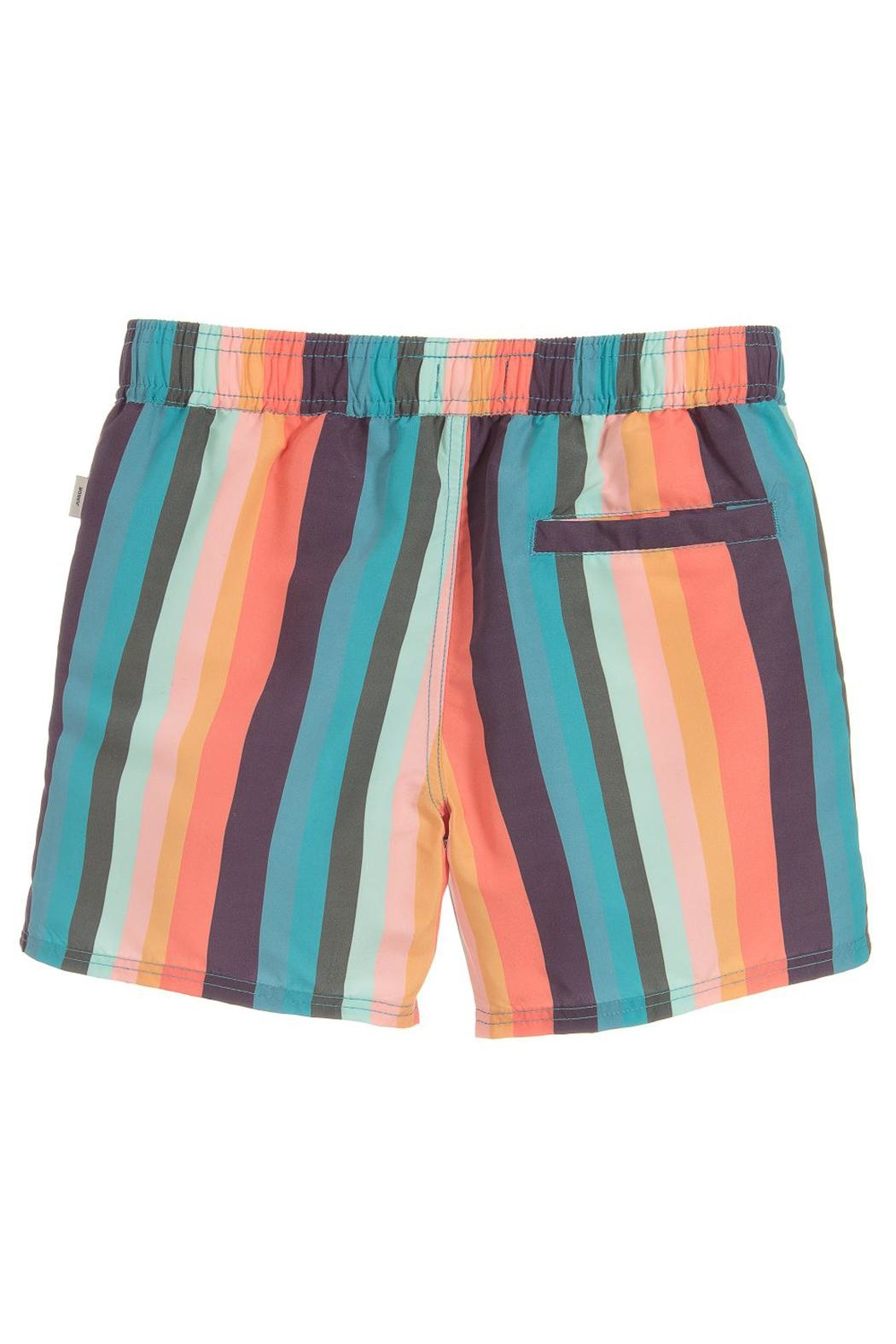 Paul Smith Junior Multicoloured-Striped 'Toshiro' Swim-Shorts - Front Full Image