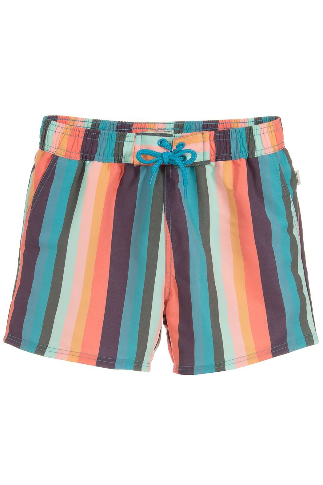 Paul Smith Junior Multicoloured-Striped 'Toshiro' Swim-Shorts - Main Image