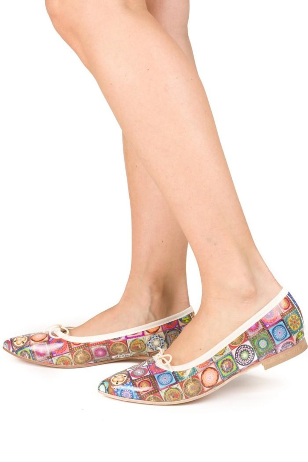 Misano Multicoloured-Tile Ballerina Flats - Back Cropped Image
