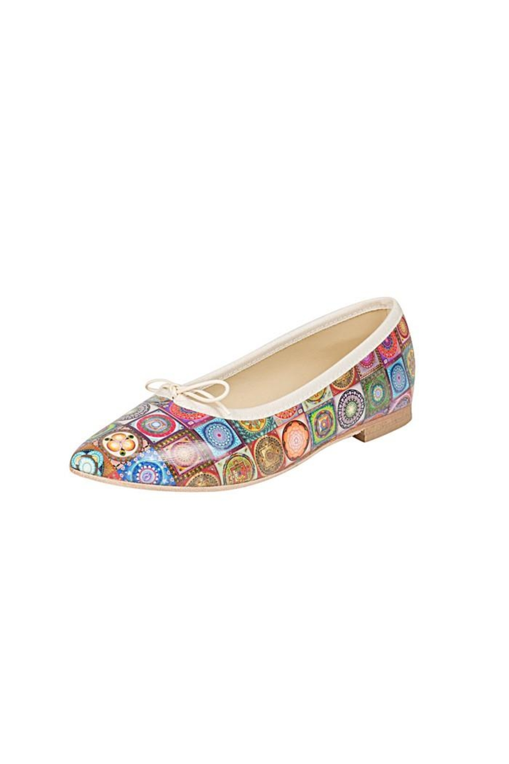Misano Multicoloured-Tile Ballerina Flats - Front Full Image