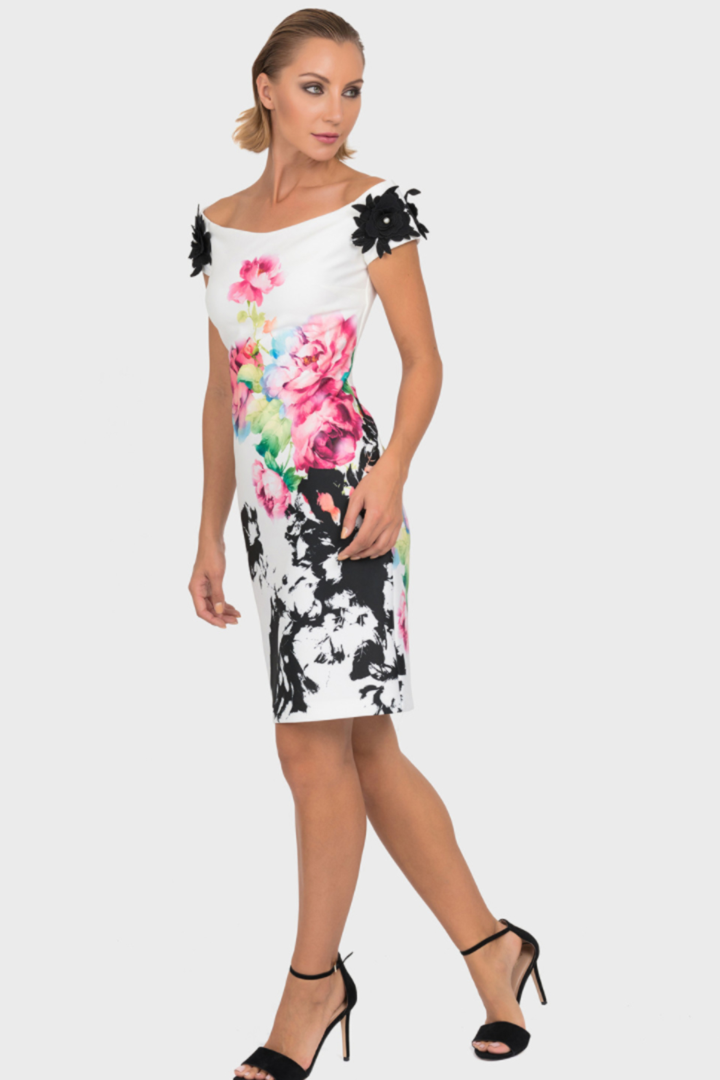 Joseph Ribkoff Multiple Foral Patterns Dress - Front Cropped Image