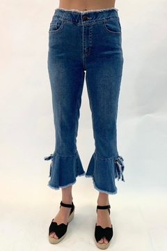 Multiples Denim Bow Flare Pants - Product List Image