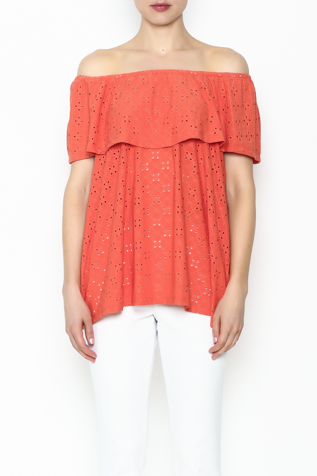 Multiples Eyelet Off Shoulder Top - Front Full Image