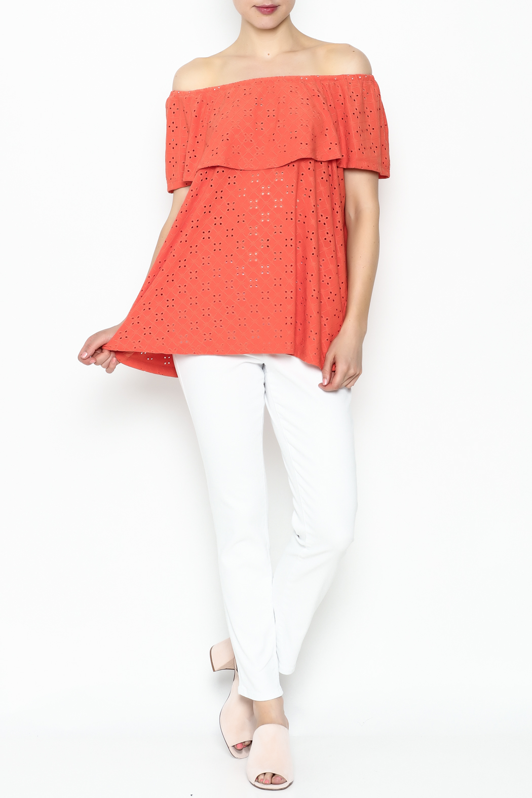 Multiples Eyelet Off Shoulder Top - Side Cropped Image