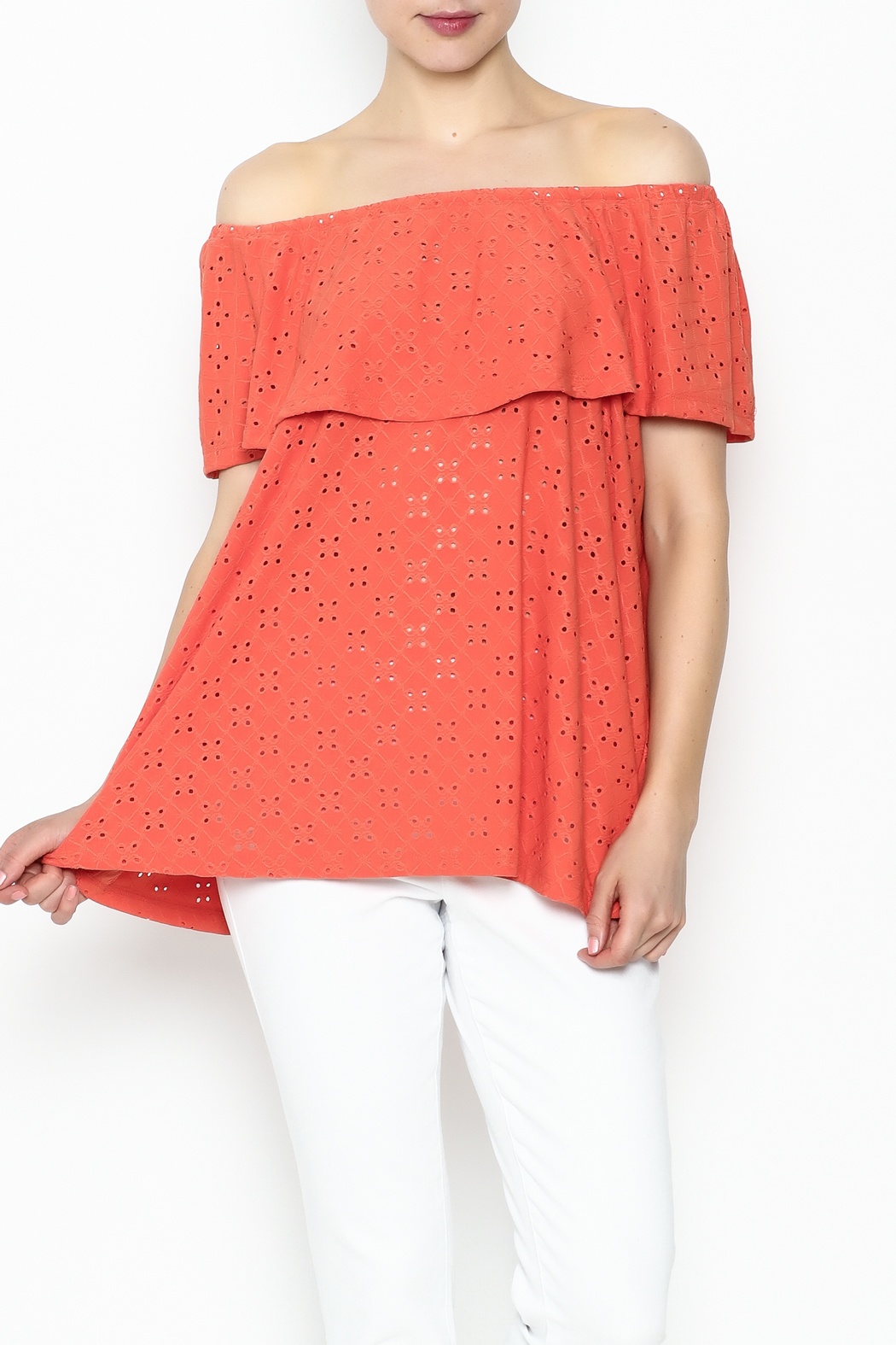 Multiples Eyelet Off Shoulder Top - Front Cropped Image
