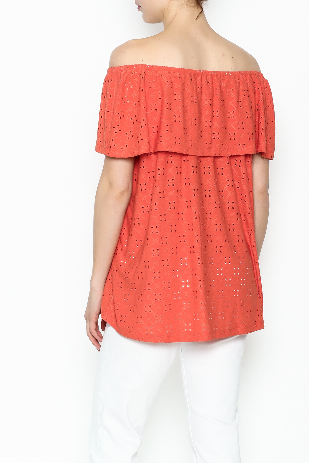 Multiples Eyelet Off Shoulder Top - Back Cropped Image