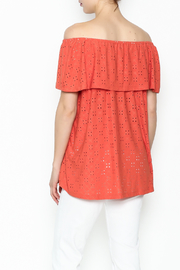 Multiples Eyelet Off Shoulder Top - Back cropped