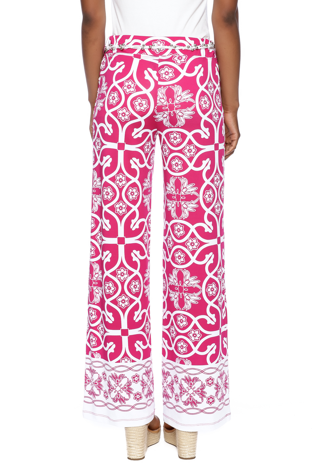 Multiples Palazzo Print Pant - Back Cropped Image