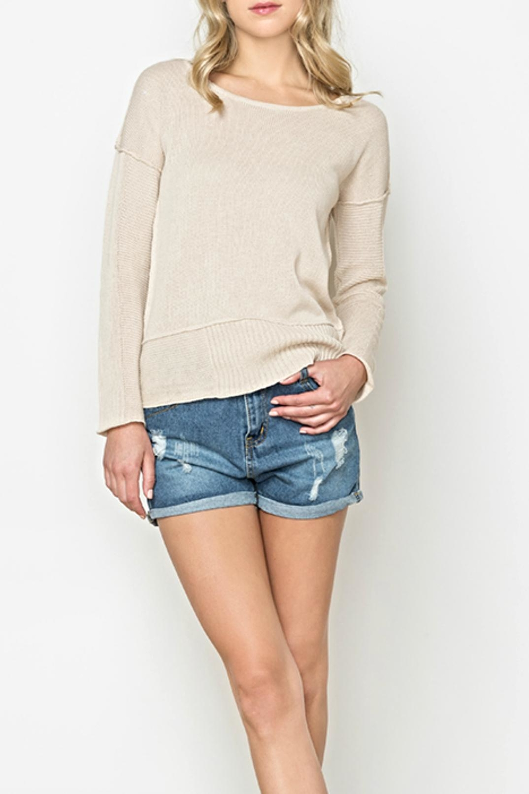 Mur Monoreno Contrast Collar Sweater - Front Cropped Image