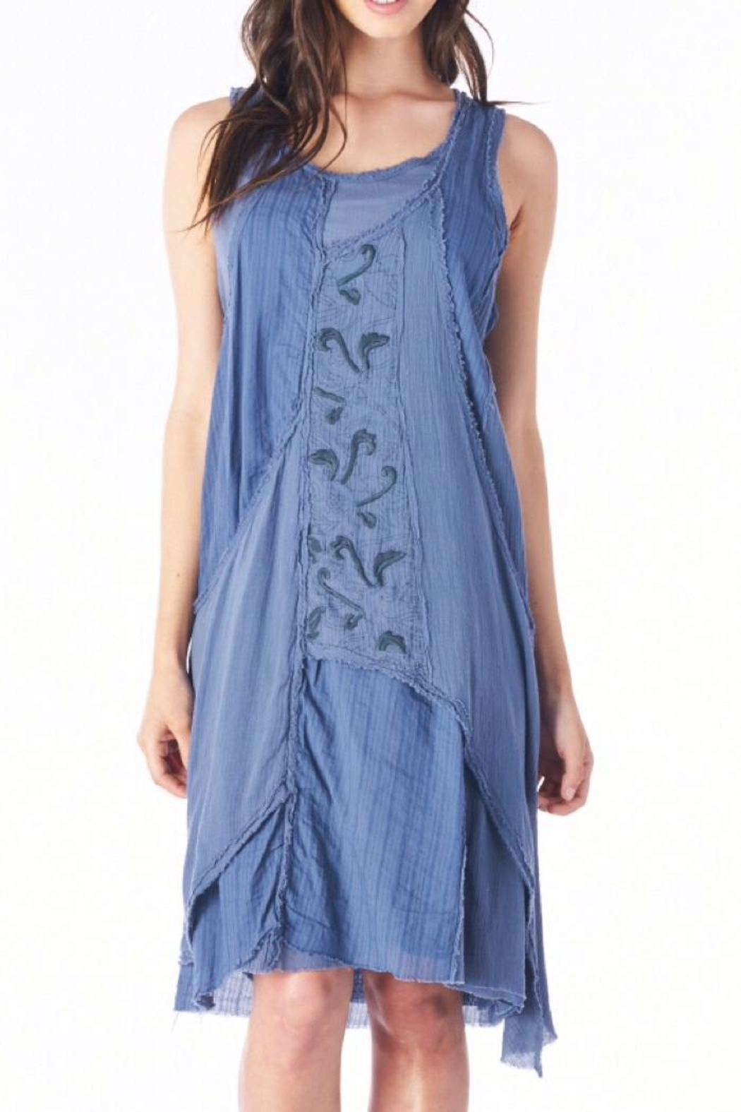 Mur Monoreno Embroidered Layered Dress - Front Cropped Image