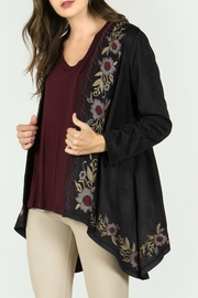 Mur Monoreno Embroidered Suede Cardigan - Front cropped