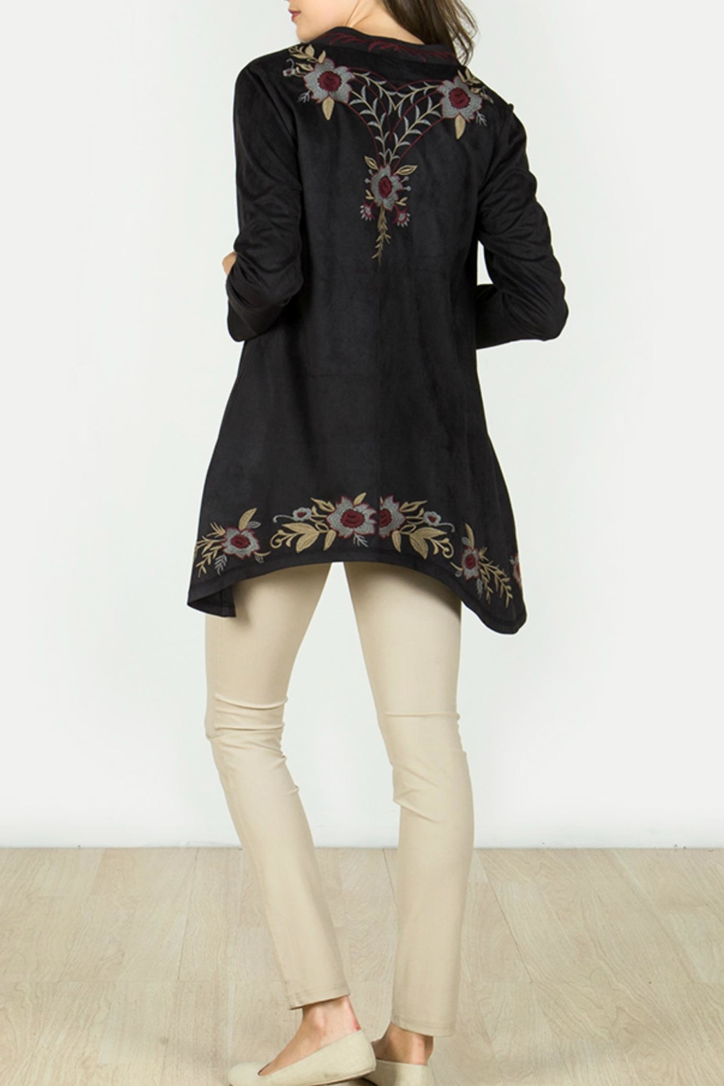 Mur Monoreno Embroidered Suede Cardigan - Front Full Image