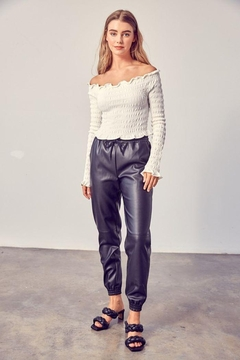 Muse Boxy Leather Jogger Pants - Product List Image
