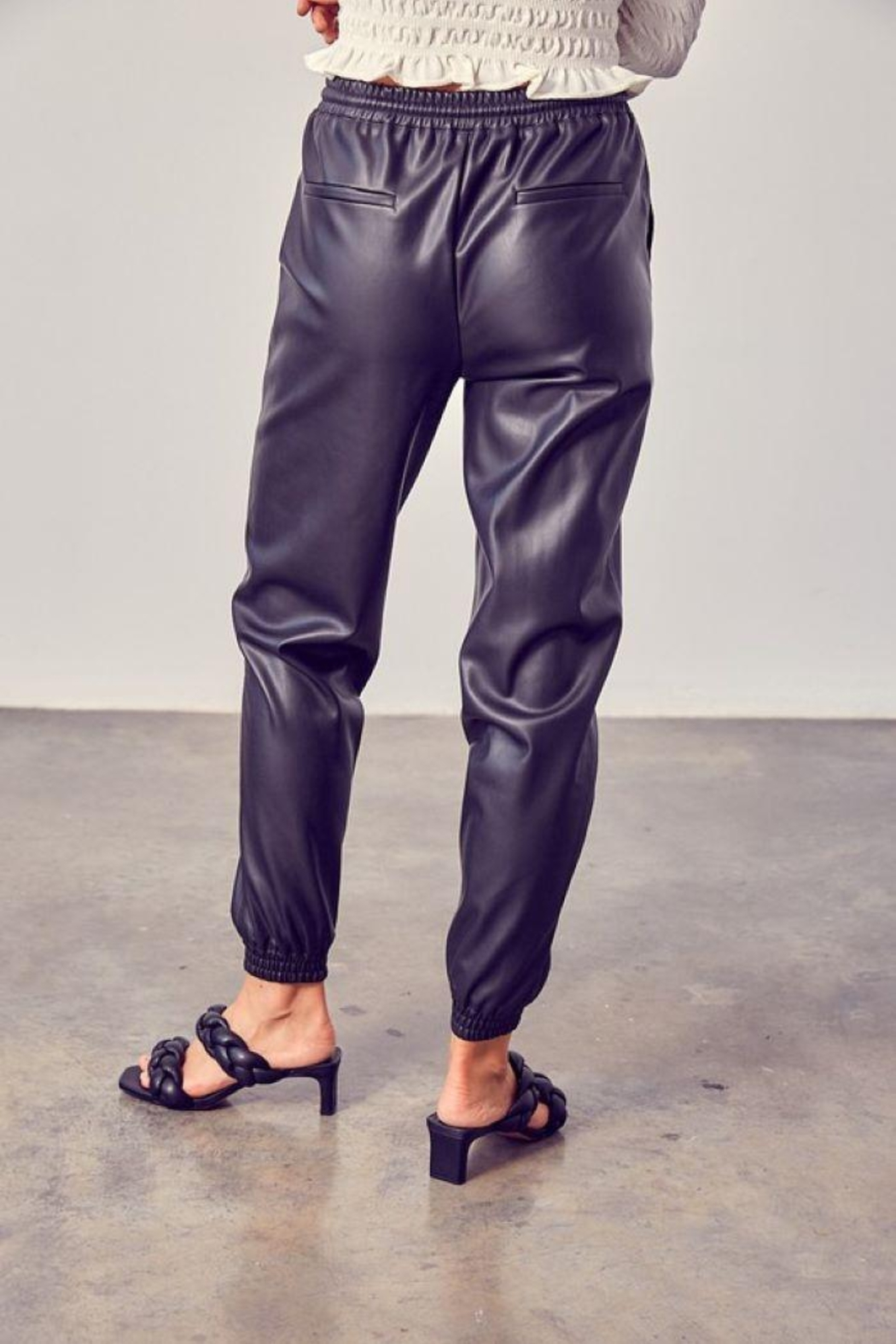 Muse Boxy Leather Jogger Pants - Front Full Image