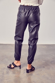 Muse Boxy Leather Jogger Pants - Front full body