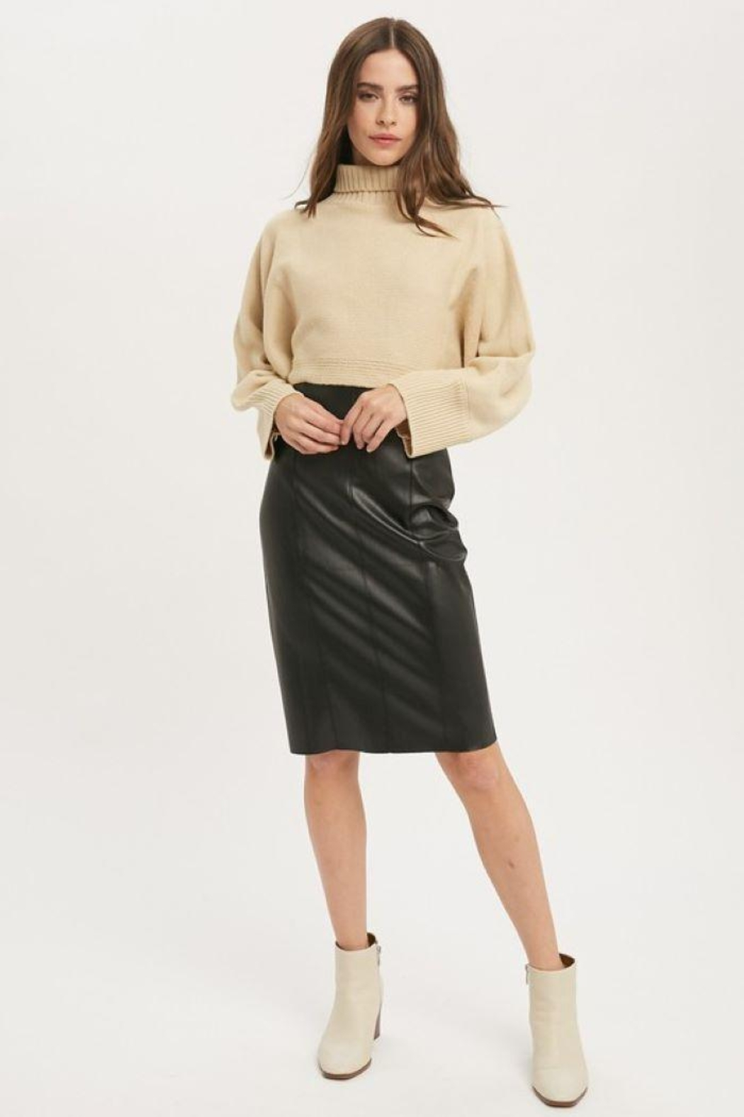Muse Faux Leather Skirt - Front Full Image