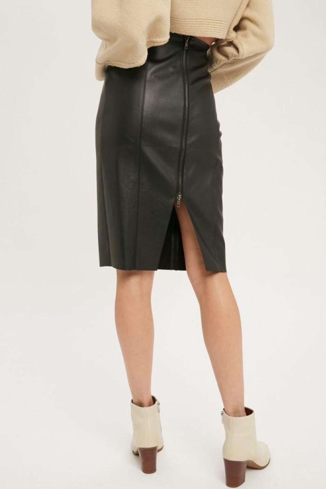 Muse Faux Leather Skirt - Side Cropped Image