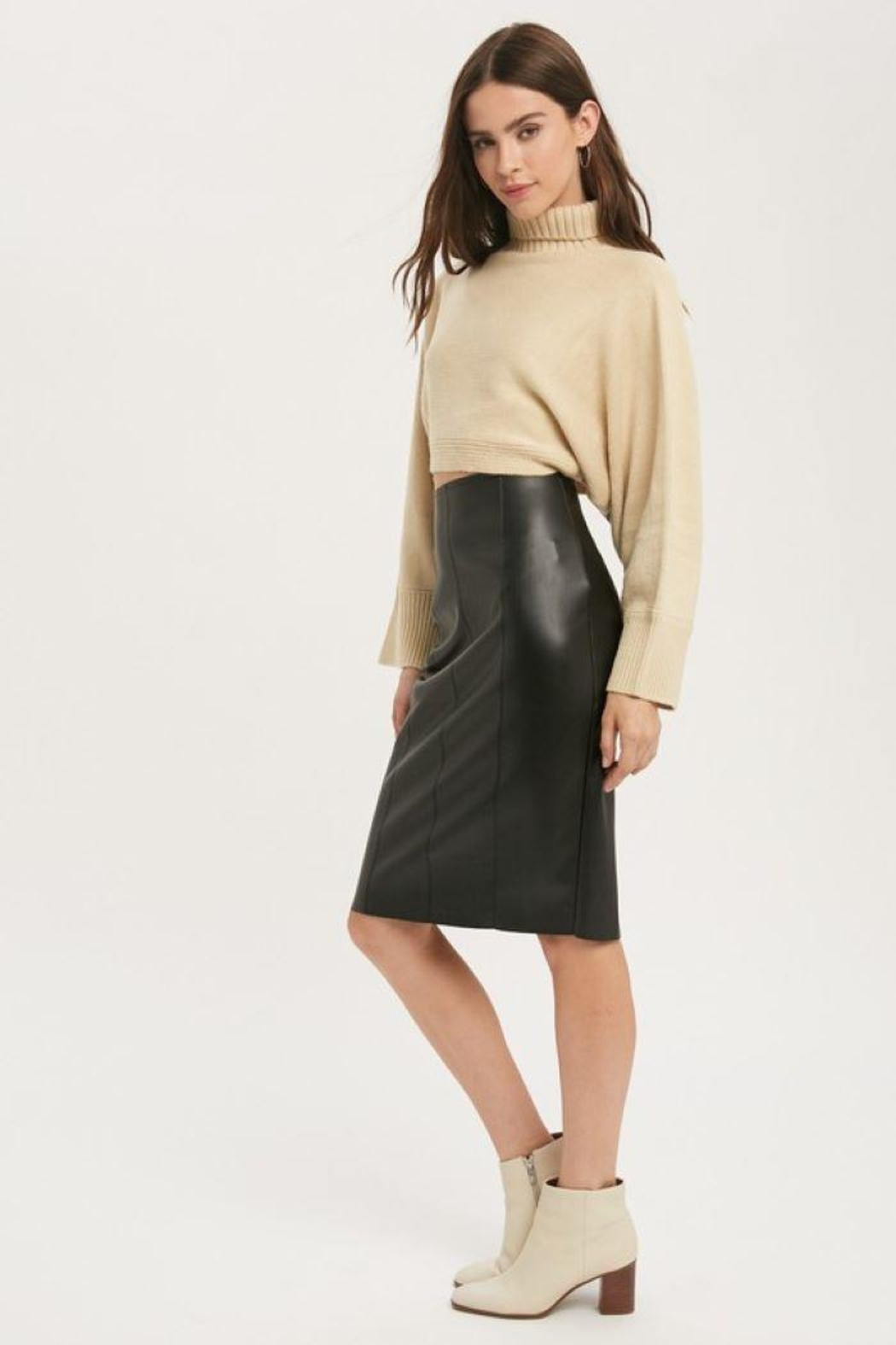 Muse Faux Leather Skirt - Back Cropped Image