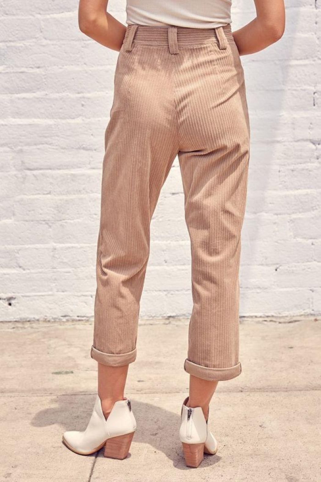 Muse Mixed Corduroy Trousers - Back Cropped Image