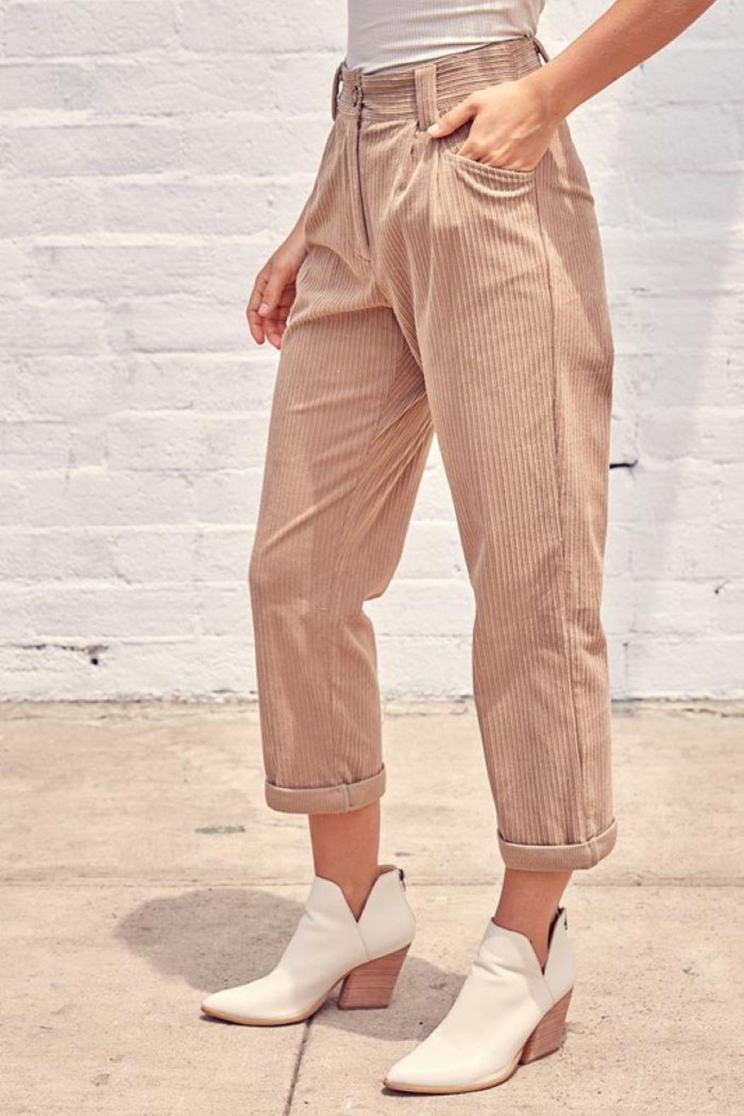 Muse Mixed Corduroy Trousers - Side Cropped Image