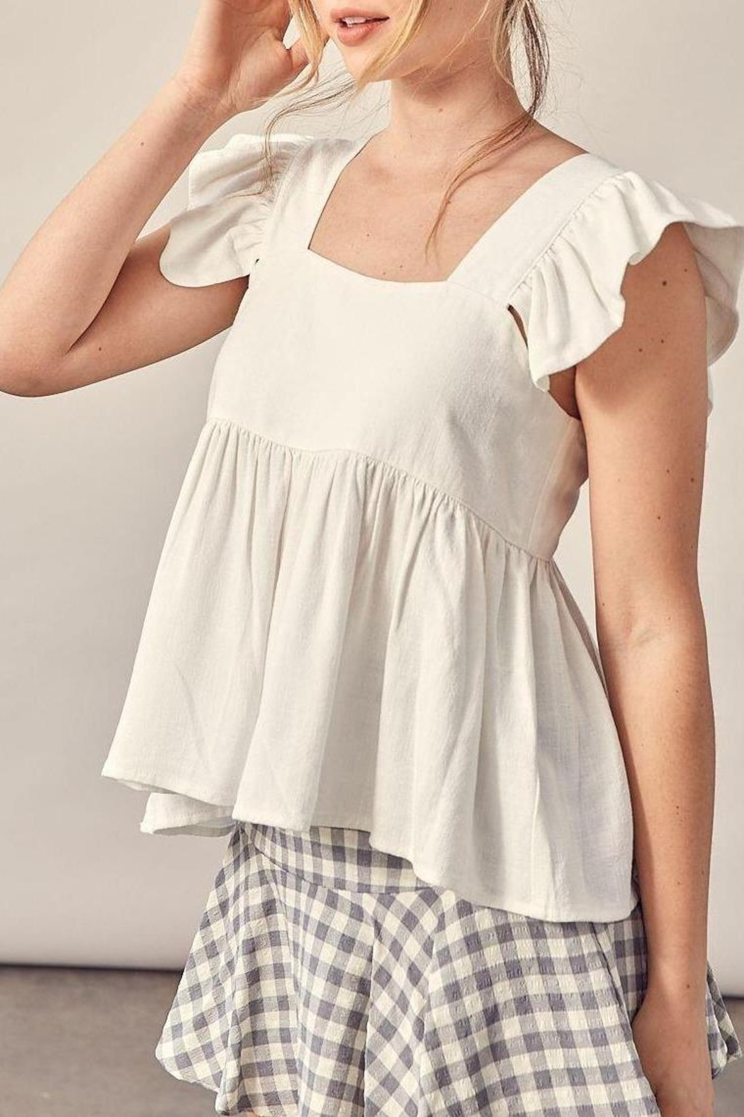 Muse Romantic Linen Flutter Sleeve Blouse (Available In 2 Colors) - Main Image
