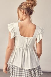 Muse Romantic Linen Flutter Sleeve Blouse (Available In 2 Colors) - Front full body