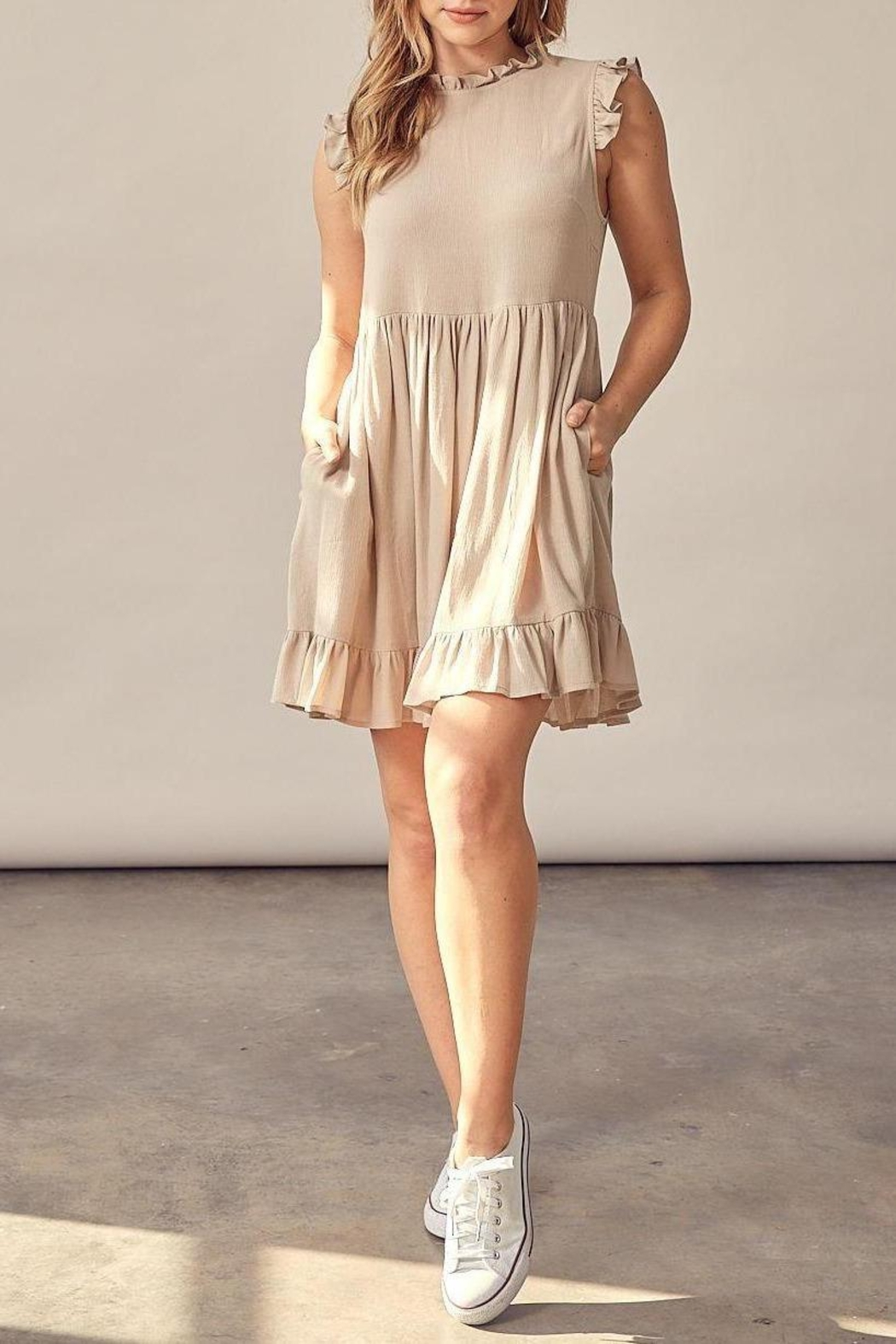 Muse Runaway With Me Rayon Gauze Ruffle Detail Dress (Available In Natural & Black) - Main Image