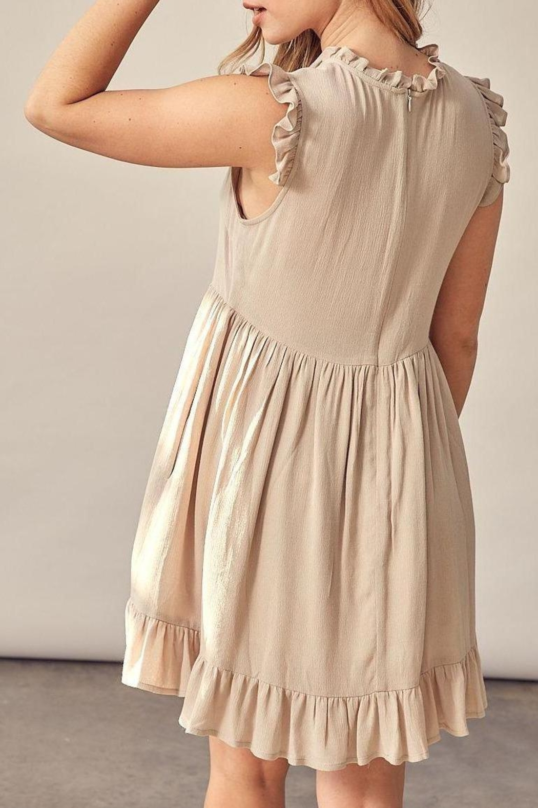Muse Runaway With Me Rayon Gauze Ruffle Detail Dress (Available In Natural & Black) - Front Full Image