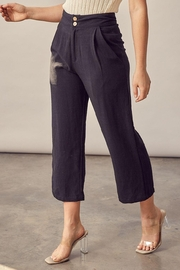 Muse Style Boss Chic Pleat Front Linen Trouser Pant In Black - Product Mini Image