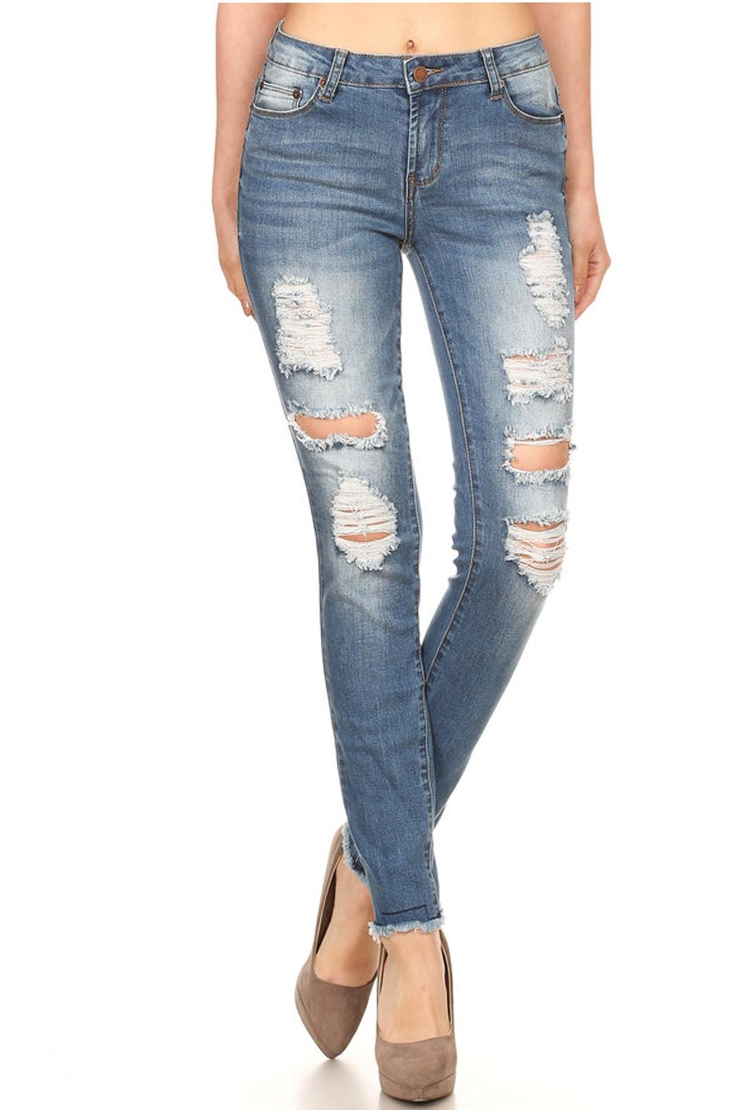 Muse Apparel Distressed Skinny Jeans - Main Image